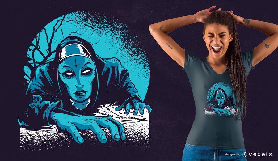 Diseño de camiseta de monja oscura