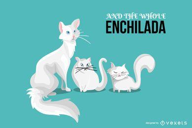 Enchilada Cats Illustration