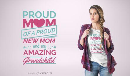 Diseño orgulloso de la camiseta de la cita de la mamá