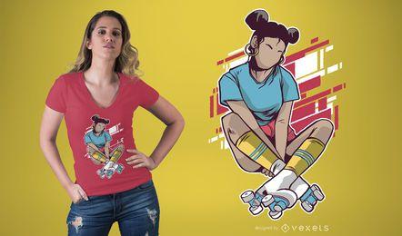 Projeto do t-shirt da menina do rolo