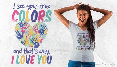 Design verdadeiro do t-shirt das citações das cores