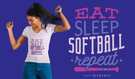 Eat Sleep SoftBall Repetir camiseta de diseño