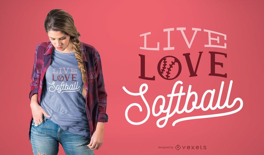 Diseño de camiseta Live Love Softball