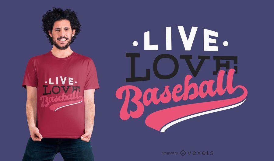 Projeto vivo do t-shirt do basebol do amor