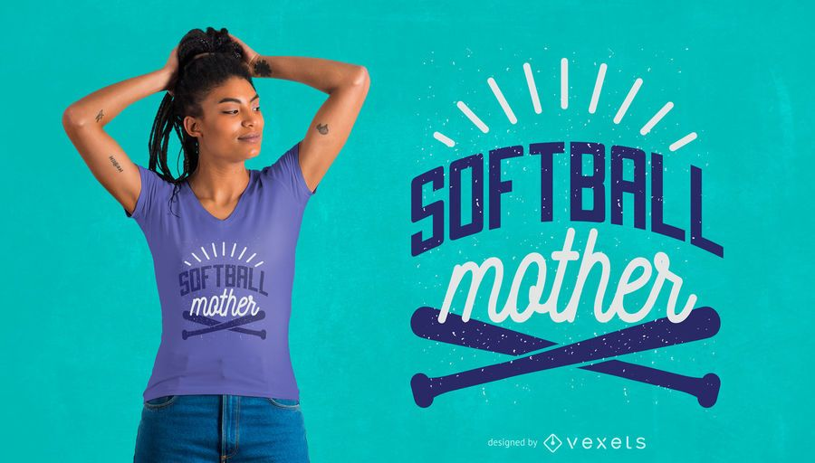 Softball-Mutter-T-Shirt-Design