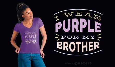 Llevo el diseño de camiseta púrpura para mi hermano