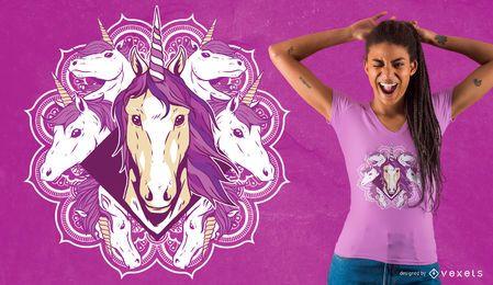 Diseño de camiseta unicornio mandala