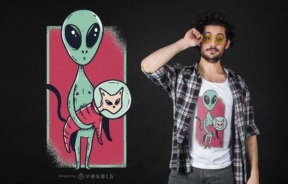 Lustiger T-Shirt Entwurf der alien-niedlichen Katze des Platzes
