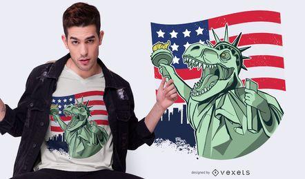 4 de julho Independence T-rex T-shirt Design