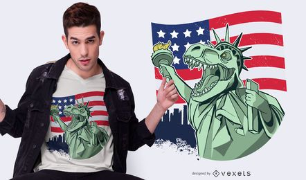 4th of July Independence T-rex T-shirt Design