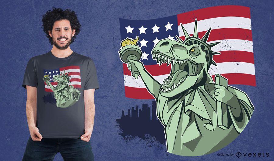 4 de julho Independência T-rex Design T-shirt