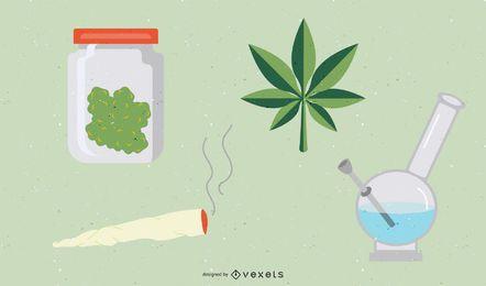 Conjunto de ícones de erva de maconha