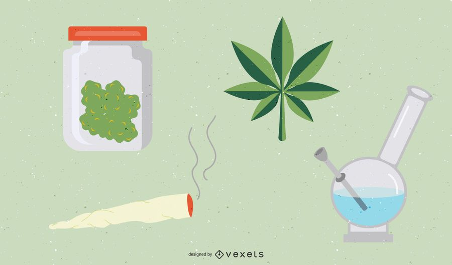 Conjunto de iconos de marihuana Weed