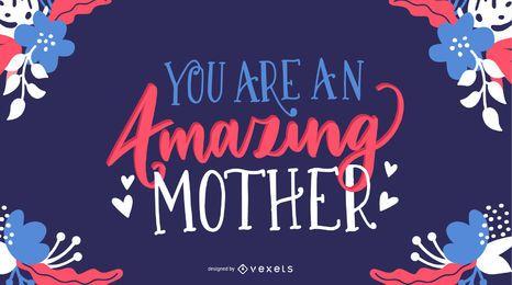 Cartão bonito da rotulação do dia das mães