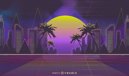 Neon Retrowave Skyline