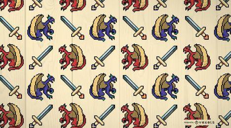 Diseño de patrón de dragones medievales