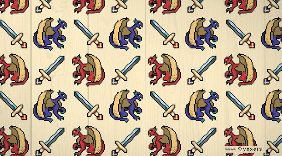Mittelalterliche Drachen Muster Design