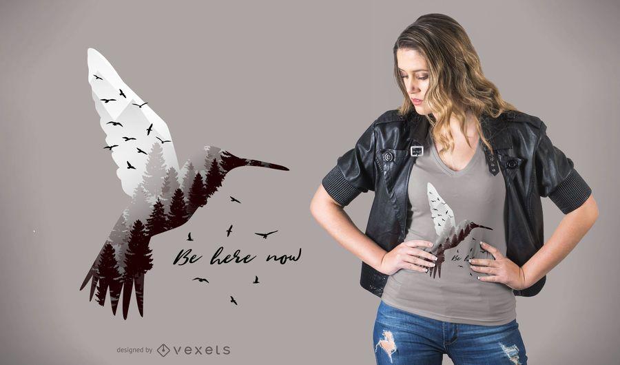 Hummingbird with Forest T-shirt Design
