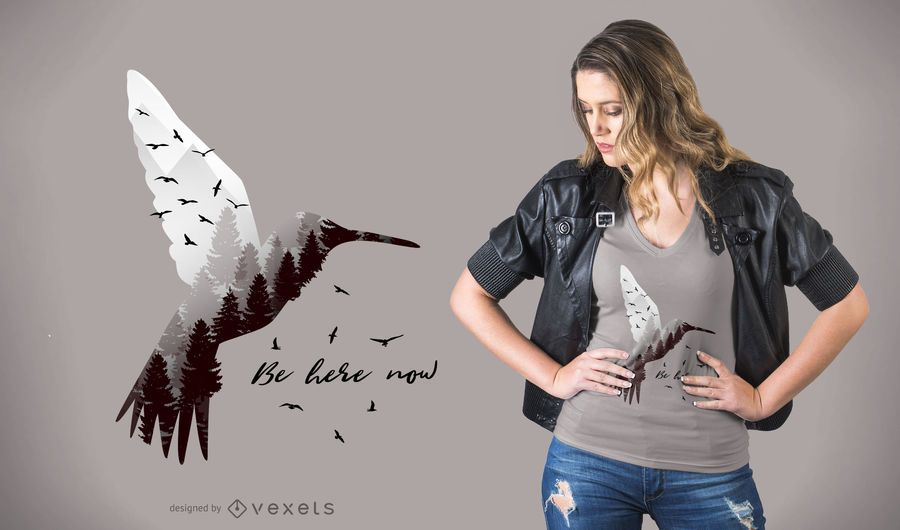 Kolibri mit Wald T-Shirt Design