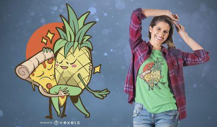 Diseño divertido de la camiseta del amor prohibido pizza de la piña