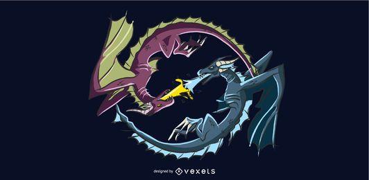 Desenho de ilustração de batalha de dragão