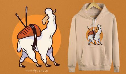 Netter Sushilama-T-Shirt Entwurf