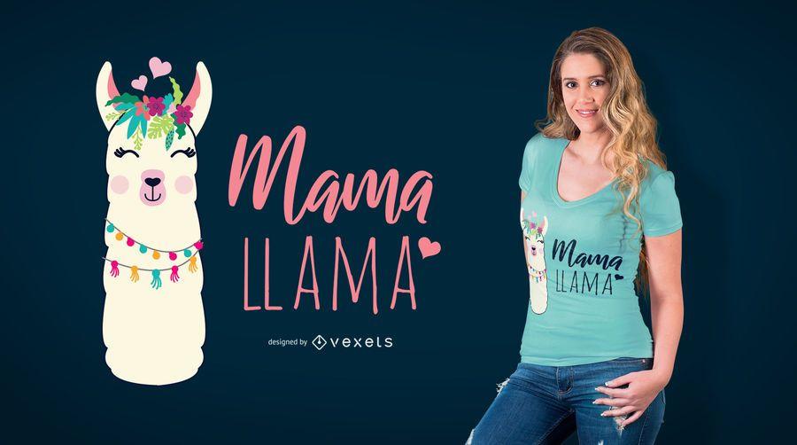 Mama Llama T-Shirt Design