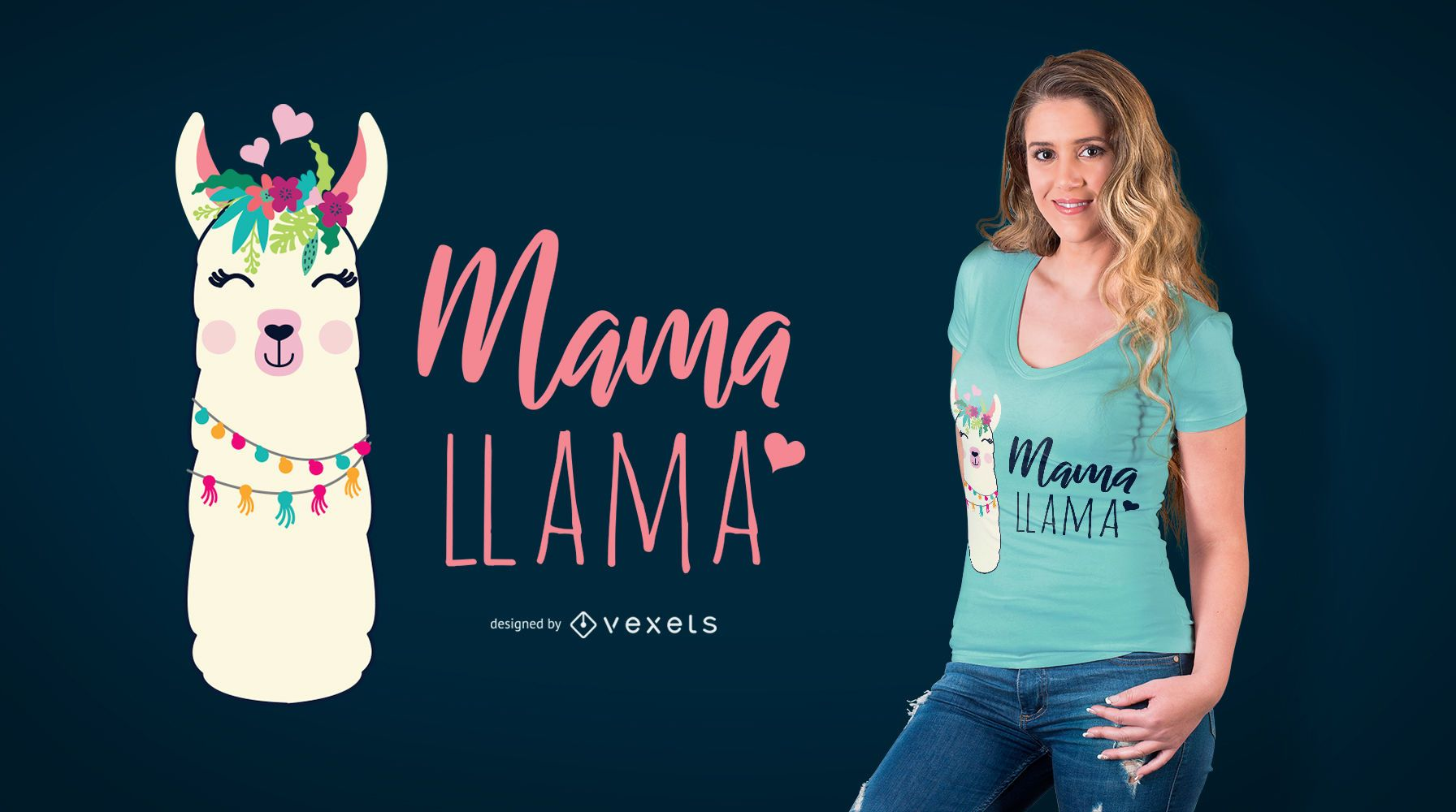 Mama Llama T-Shirt Design - Vector download