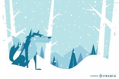 Design de plano de fundo de cão de inverno