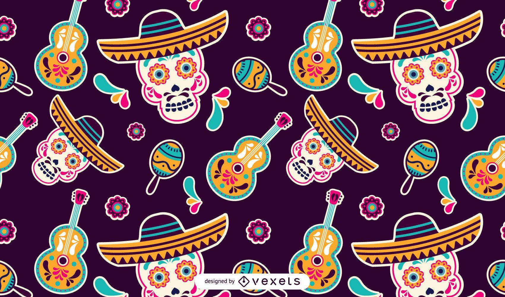Patrón de calaveras mexicanas del Cinco de Mayo