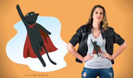 Design do t-shirt do gato do super-herói