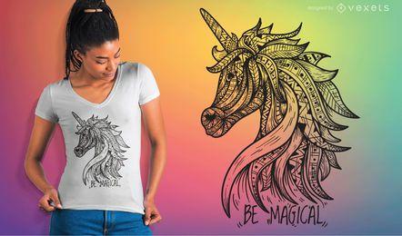 Einhorn-Mandala-T-Shirt Vektor