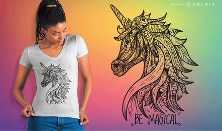Unicorn Mandala camiseta Vector