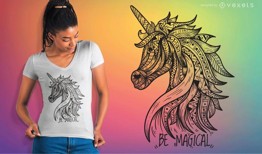 Unicórnio Mandala T-shirt Vector