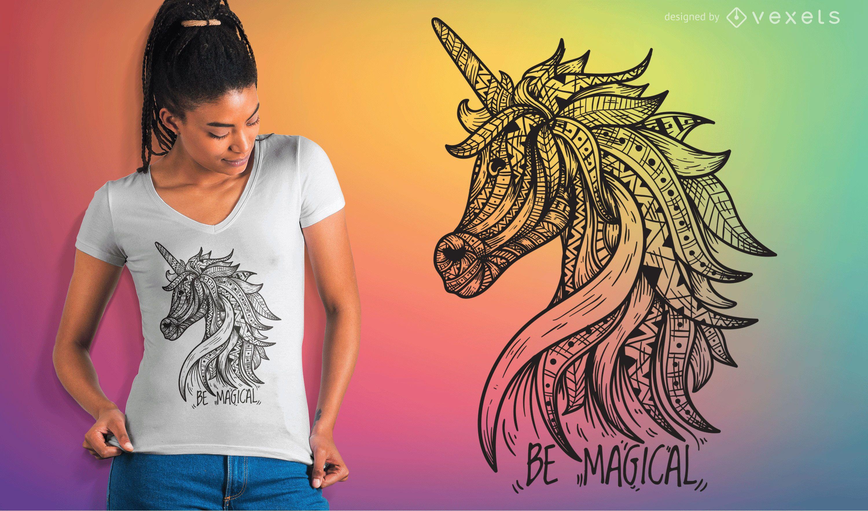 Vector de camiseta de mandala unicornio