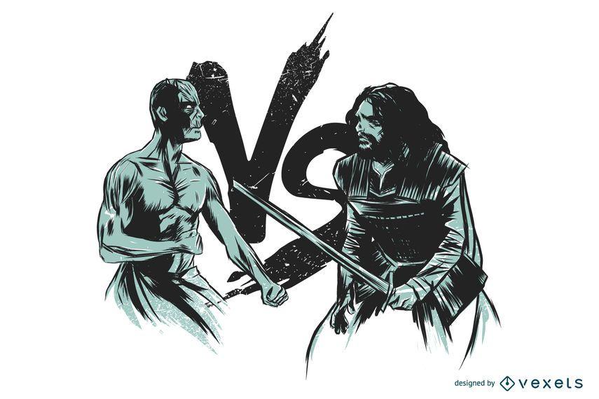 Diseño de ilustración de batalla de invierno