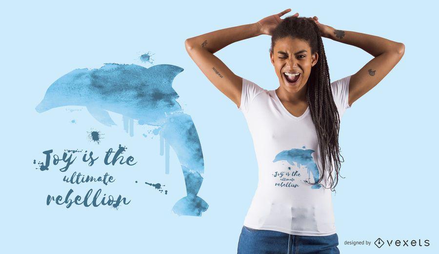 Projeto do t-shirt do golfinho da cor de água