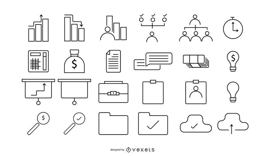 Conjunto de negocios de 24 iconos