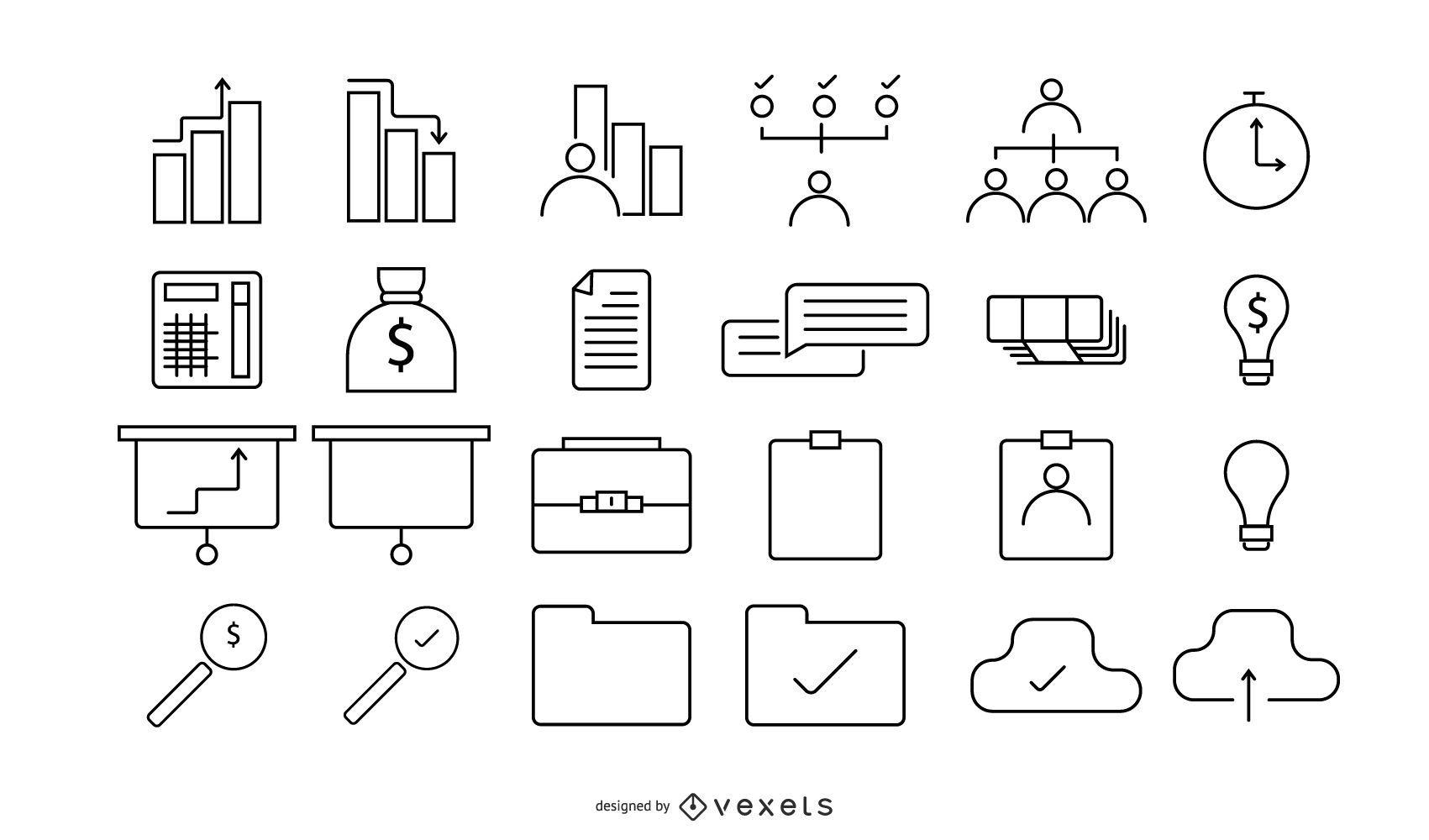 Conjunto empresarial de 24 iconos