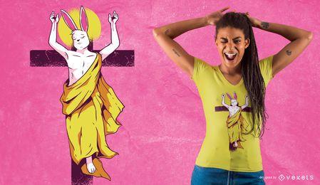 Diseño de la camiseta de la resurrección del conejito de pascua