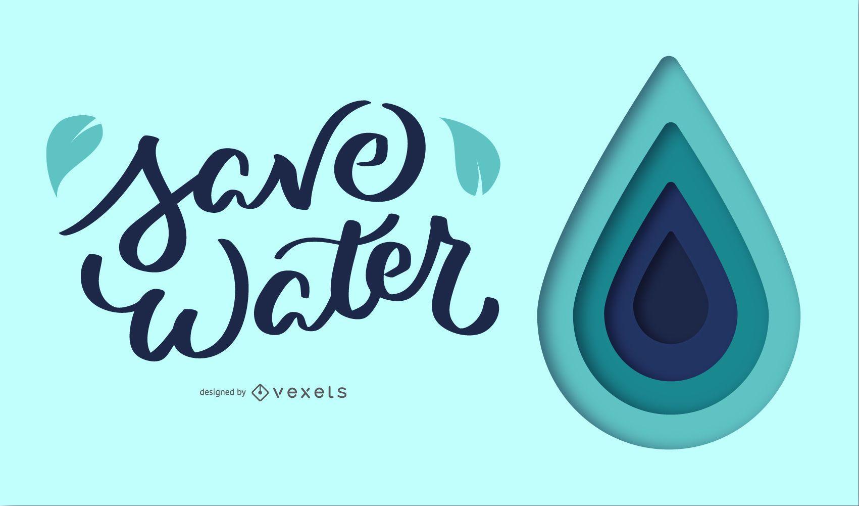 Save Water Illustration Design