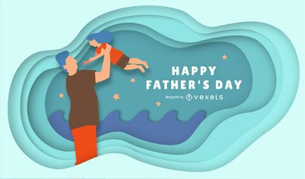 Papercut Father's Day Illustration