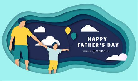 Feliz Dia dos Pais Papercut Ilustração