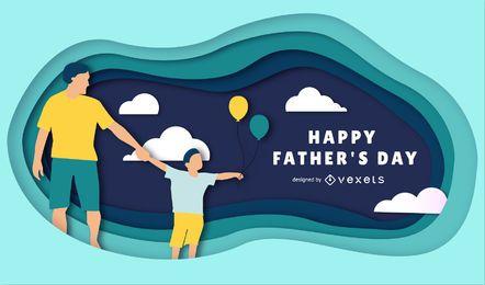 Glückliche Vatertags-Papercut-Illustration