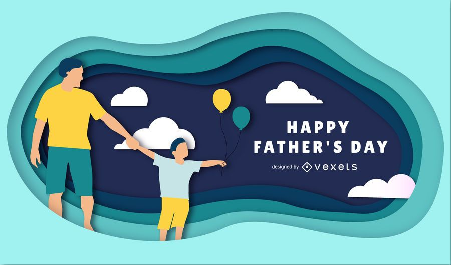 Happy Father's Day Papercut Illustration