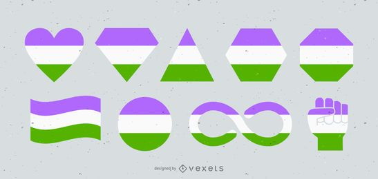 Genderqueer Flags and Shapes Set
