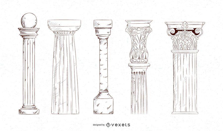 Conjunto de colunas de traçado