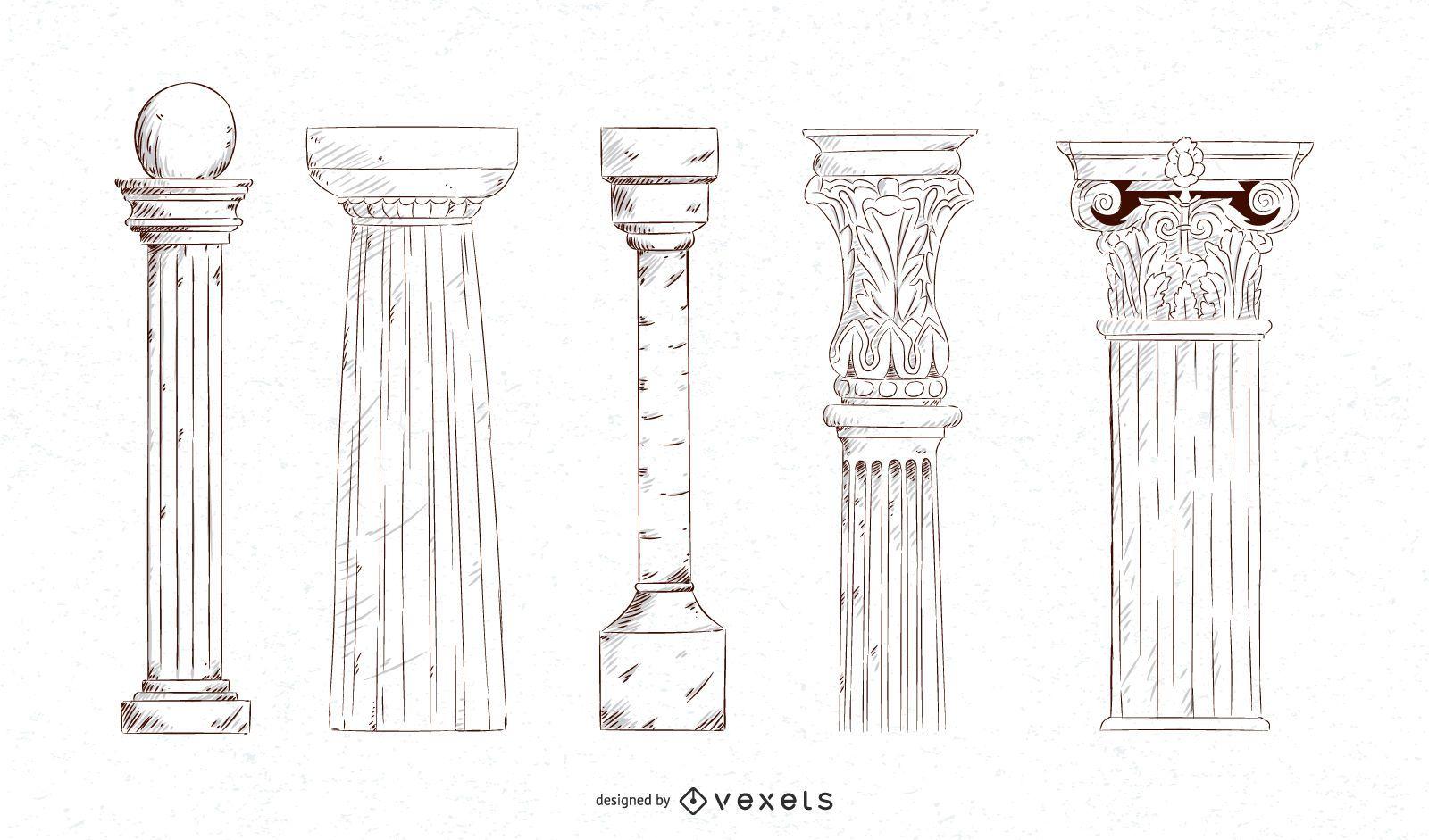 Conjunto de columnas de trazo