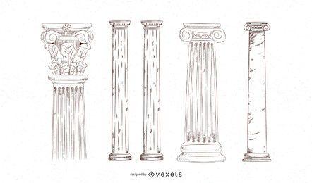 Conjunto de pilares dibujados a mano