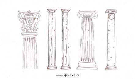 Hand drawn pillar set